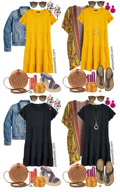 Plus Size Casual Summer Dress Outfits – Alexa Webb Four plus size casual summer dress outfits with a knit tiered dress in yellow or black, a denim jacket or kimono, rattan bag, and statement earrings. Yellow Dress Casual, Yellow Dress Summer, Simple Black Dress, Casual Dress Outfits, Summer Dress Outfits, Casual Summer Dresses, Spring Outfits, Plus Size Summer Dresses, Plus Size Outfits