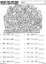 Preview of math worksheet, Integers and Number Lines