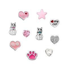LovelyJewelry 10 Pcs Cat Caw Heart Floating Charms For Glass Living Memory Lockets Necklace & Bracelets * Be sure to check out this awesome product.