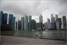 Skyline view from The Shoppes at Marina Bay Sands, Singapore, Asia