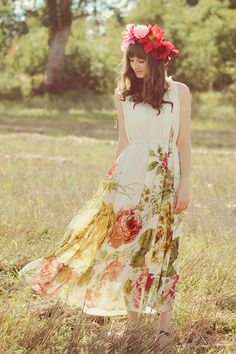Light yellow romwe dress via www.chictopia.com & floral crown