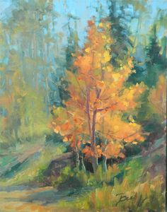 BECKY JOY Paintings Impressionist Plein Air Original fall aspen tree landscape sold