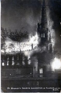 St George's Church, Leicester, in Rutland Street was built in 1823-1827 (William Parsons) and the chancel added in 1879 by Sir A. Blomfield. This postcard from 1911 shows the disastrous fire, it was rebuilt by W. D. Caroe. This postcard was sent to W. O. Woolman who was living in Kansas from relatives in Leicester at the time. It was given a grant in 2011 from the Heritage Lottery Fund for restoration.