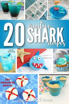 20 Creative Shark Week Recipes is part of Craft Create Cook Creative Shark Week Recipes Craft - Let's get creative with some easy and fun Shark Week Recipes! It's officially Shark Week Healthy Meals For Kids, Kids Meals, Shark Snacks, Shark Craft, First Birthday Decorations, Shark Party, Craft Activities For Kids, Kids Crafts, Shark Week