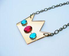 #lasercut #jewelry #necklace #gamer #cute #nerd #geek #videogame #mario #princesspeach #crown #rhinestone #gold #pink #blue