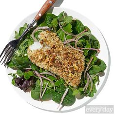 Pistachio-Crusted Cod with Mixed Greens & Quick-Pickled Shallots