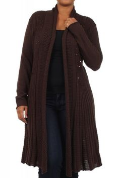 73.00 - A timeless cardigan he's sure to wear time and time again! solid cable knit draped neck, open front cardigan with sequin detail on front and a pleated flared hem, , ebuybit.com