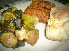 balsamic Brussels Sprouts with chopped portobello mushrooms, vegan hawaiian chicken and homemade vegan biscuits