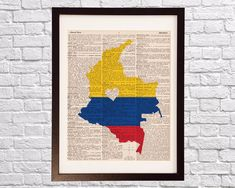 Colombia Dictionary Art Print - Bogota Art - Print on Vintage Dictionary Paper - Colombian Flag, Any Color - Medellin, Cartagena, Cali Art Pieces, Dictionary Art Print, Art Prints, Country Tattoos, Colombian Art, Watercolor Map, Art, Map Tattoos, Map Art