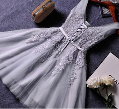 Cute A-line grey lace short prom dress,homecoming dresses - Thumbnail 1