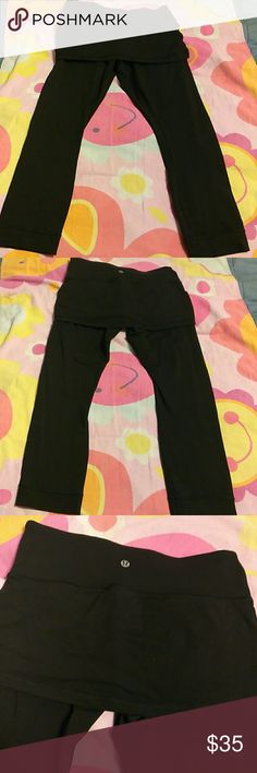 """Lululemon Athletica athletic pants Lululemon Athletica pants with attached skirt Size 6 Pocket at waist Good condition About 23"""" No flaws lululemon athletica Pants"""