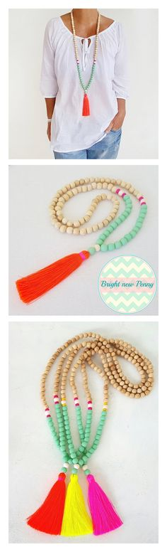 Tassel necklaces ! Color love - Summer neons -  Shop Tassel necklaces ...  https://www.etsy.com/shop/Brightnewpenny  #tasselnecklaces #tassel #necklaces