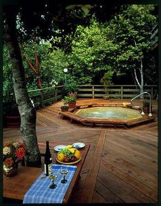 Redwood deck outside kitchen with sunken hot tub. Love the sunken hot tub! Extend my deck, and sink a hot tub in it. Outdoor Rooms, Outdoor Gardens, Outdoor Living, Outdoor Decor, Hot Tub Deck, Hot Tub Backyard, Nice Backyard, Backyard Ideas, Sunken Hot Tub