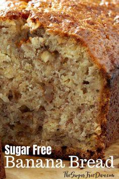 Banana Bread that has no added sugar in it. # diabetic desserts This recipe for Sugar Free Banana Bread is really delicious. Diabetic Deserts, Diabetic Friendly Desserts, Healthy Snacks For Diabetics, Low Carb Desserts, Diabetic Recipes, Bread For Diabetics, Deserts For Diabetics, Diabetic Bread, No Sugar Desserts