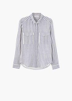 Gestreept katoenen overhemd | MANGO