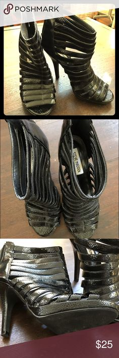 "Steve Madden Strappy Heels Black patent leather strappy heels by Steve Madden. Zip back 4.25"" heel Steve Madden Shoes Heels"