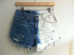 dip dyed & distressed high-waisted cutoffs.