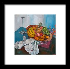 Still Life Framed Print featuring the painting The Pine - Apple by Carmen Stanescu Kutzelnig Pine Apple, Hanging Wire, Fine Art America, Framed Prints, Painting, Life, Paintings, Draw, Drawings