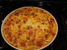 Farmer's Brunch Casserole--with shredded potatoes, jalapeno jack cheese, ham, eggs and scallions