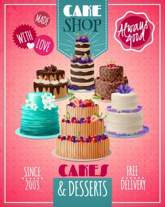 Buy Baked Cakes Poster by macrovector on GraphicRiver. Baked cakes cartoon poster with fruit and chocolate cakes vector illustration. Editable EPS and Render in JPG format Cakes To Make, How To Make Cake, Delivery Desserts, Oreo, Cake Vector, Nutella, Food Poster Design, Design Logos, Online Cake Delivery