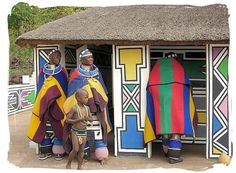 Ndebele painted houses - the national flag of the new South Africa is like a piece of Ndebele art.