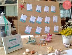 Seating plan o distribución de mesas para boda en la playa. #wedding #bodapersonalizada