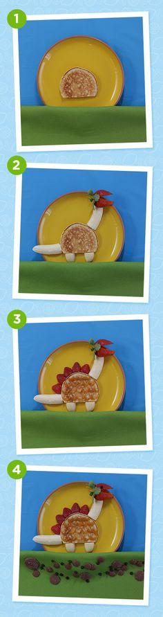 Dinosaur pancakes for Pancake Day - super easy and super tasty!
