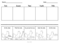 Little Red Hen Sequencing Freebie  Put the pictures in order to retell the sequence of events from the story, Little Red Hen. This free printable can be used with any version of the text!