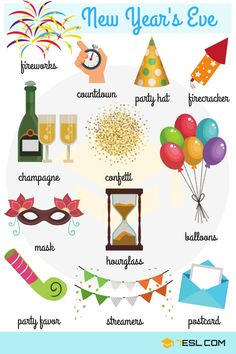Happy New Year! List of useful New Year's Eve vocabulary words with pictures and examples. Learn these New Year words to improve your English. English Vocabulary Words, English Idioms, English Lessons, English Grammar, Vocabulary Cards, English Fun, Learn English Words, English Teaching Materials, Teaching English