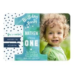 boy first birthday invitation by paperkitedesigns on Etsy Party
