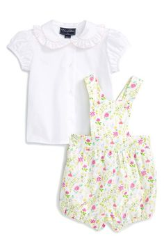 Oscar de la Renta Shirt & Floral Print Overalls Set (Baby Girls & Toddler Girls)
