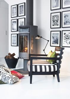 House of Philia Cozy Living Rooms, Home And Living, Living Room Decor, Living Spaces, House Of Philia, Modern Wood Burning Stoves, Interior Decorating, Interior Design, Home And Deco