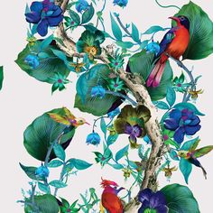 Bring bold colours to your home with this Rain Forest wallpaper from Osborne & Little. Part of the Enchanted Gardens collection it features a climbing branch of leaves and blooms populated with exotic Forest Wallpaper, Of Wallpaper, Designer Wallpaper, Pattern Wallpaper, Leaves Wallpaper, Wallpaper Online, Flower Wallpaper, Interior Wallpaper, Watercolor Wallpaper