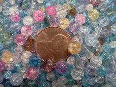 free s Beads, crackle glass, multicolored, 3-7mm round