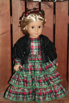 Christmas dress in plaid taffeta, black velvet jacket, and holly berry head wreath for Marie Grace, Addy, Cecile.