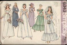Simplicity 6343 Vintage 1970s Wedding Bridesmaid Dress Pattern B36 FF