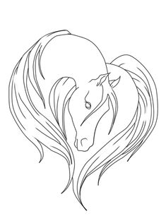 Horse Lineart by Margony on DeviantArt Outline Drawings, Horse Drawings, Animal Drawings, Art Drawings, Doodle Drawing, Painting & Drawing, Horse Outline, Horse Stencil, Horse Therapy