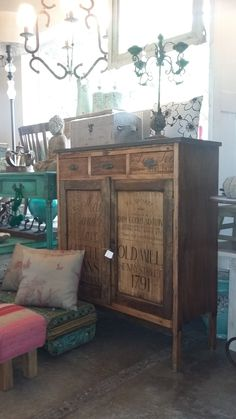Botinero pintado a mano Dry Goods, Buffet, Cabinet, Storage, Furniture, Home Decor, Hall, House Decorations, Blue Prints