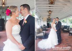 Bride and Groom Portrait :: Pink Accents :: Lord Jeffery inn in Amherst MA :: Michelle Girard Photography & Design