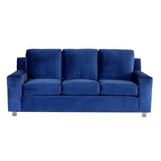 Wood-framed sofa with navy upholstery. Made in the USA.      Product: SofaConstruction Material: Wood sourced from Sustainable Forestry Initiative certified forests, high-grade soybean bio-foam, polyester and steelColor: Bella navyFeatures:  Made in the USAExtra-wide squared arm design and oversized cushions for your lounging pleasure Dimensions: 34 H x 84 W x 38 D