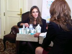 """Actress turned entrepreneur Jessica Alba shows CNBC's Julia Boorstin products for her online subscription baby-products firm, """"The Honest Company""""."""