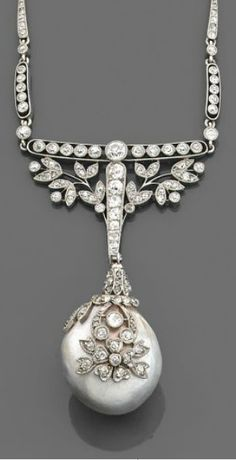 A Belle Epoque natural pearl, diamond and platinum pendant, French, circa 1910. The fine grey pearl pendant with a floral cap, suspended from a garland and bar surmount, set throughout with brilliant-cut diamonds, mounted in platinum. #BelleÉpoque #Antique #pendant