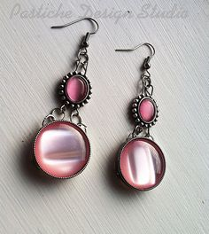 Pink Cabochon Drop Earrings with metal scroll by PASTICHEfashion, $18.00