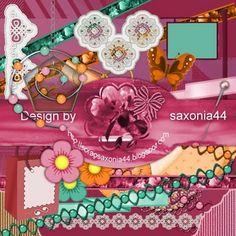 saxonia44: MiniKit Undine. Colección de papeles y elementos en color rosa, verde y marrón