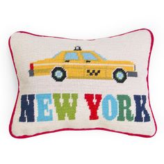 #Modern #Needlepoint #Pillows | Jonathan Adler New York Needlepoint Throw Pillow | $98