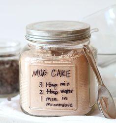 3-2-1 Cake - 3 tbsp mix, 2 tbsp water, 1 minute in microwave. This Mug Cake is genius!