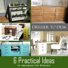 Turn an old dresser into a new practical furniture ideas with these 6 dresser re-do and repurposing ideas! Upcycle that old dresser and get more use out of it!