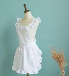 White Frilly Pinafore Apron Bid For Baking, Victorian Waitress Maid Costume