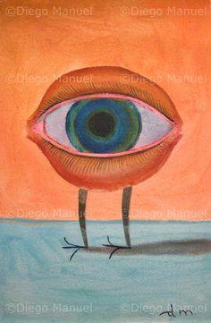 """""""ojo y patitas"""" , acrylic on canvas, 30 x 20 cm. By Diego Manuel"""