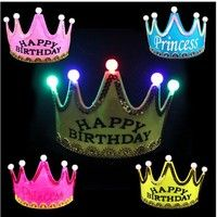 Birthday hat Light head hoop party light-emitting products Luminous non-woven crown crown flash